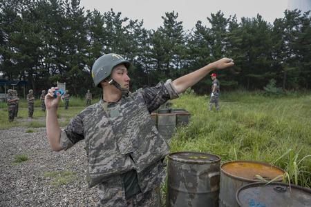 April 12, 2019-Pohang, South Korea-South Korean Marine Trainees take part in an 7week course basic training camp at the South Korean Marine Training Center in Pohang, South Korea. On comming April 19 is the South Korean Marine Corps 70th Anniversary day. 新聞圖片