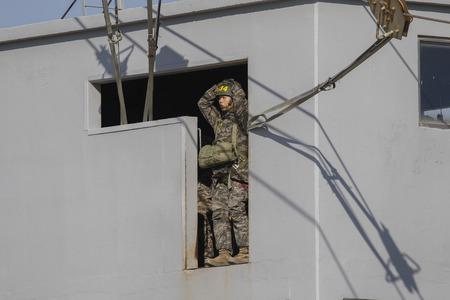 April 12, 2019-Pohang, South Korea-South Korean Marine Trainees take part in an 7week course basic training camp at the South Korean Marine Training Center in Pohang, South Korea. On comming April 19 is the South Korean Marine Corps 70th Anniversary day. Editorial