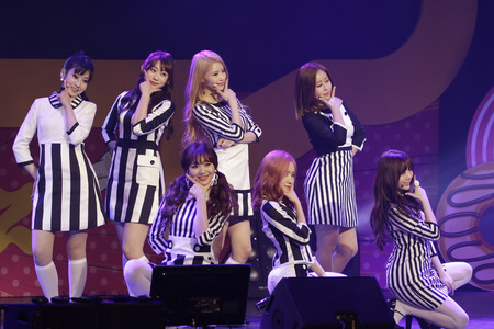 South Korean Girl group Lovelyz performs on the stage during their new album showcase in Seoul, South Korea.