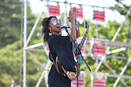 Lianne La Havas performs on the stage during an Seoul Jazz Festival 2017 at the Olympic Park in Seoul, South Korea.