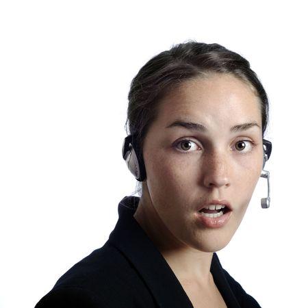 Gorgeous headset girl isolated on white Stock Photo - 6520563