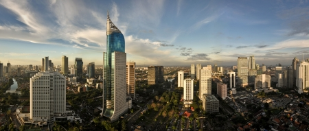 java: Jakarta City Panoramic in high detail Stock Photo