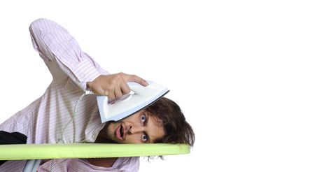 man scolding: Man decides to take a scolding hot iron to his face