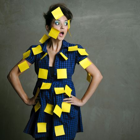 hundreds: Pretty fashion model with hundreds of post it notes