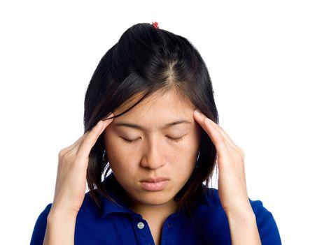 Asian girl has headache Stock Photo - 6541482