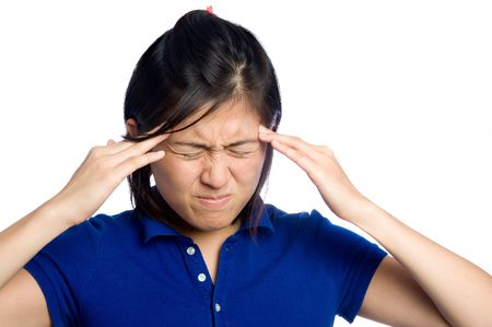 Asian girl has headache Stock Photo - 6541536