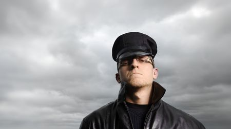 Police man under a stormy sky Stock Photo - 6541451