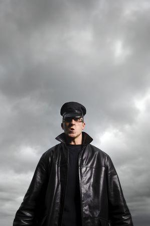 Police man under a stormy sky Stock Photo - 6541496