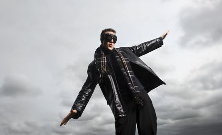 leather jacket: Male model poses as a pilot Stock Photo