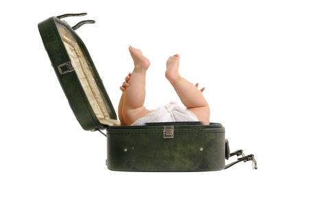 Baby travel concept. how to take kids on vacation with you photo