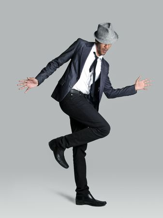 fedora hat: Model is happy and lets it show with his jazz hands