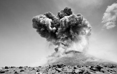 Anak Krakatau erupting violently into the defenseless sky photo