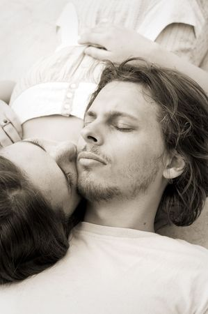 Couple in love take an afternoon nap together Stock Photo - 6633829