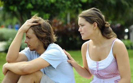 consoling: Couple argue and are not happy with each other