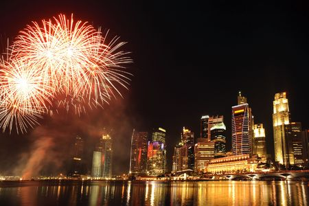 long bay: Party time in the Southeast Asian city of Singapore Stock Photo