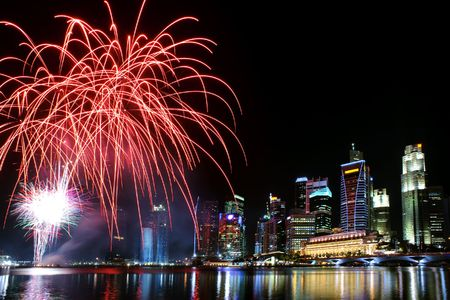 marina bay: Party time in the Southeast Asian city of Singapore Stock Photo