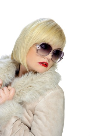 Blond girl isolated on white with sunglasses photo