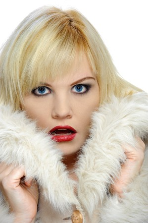 gasping: Gasping blond in a winter coat with bright blue eyes
