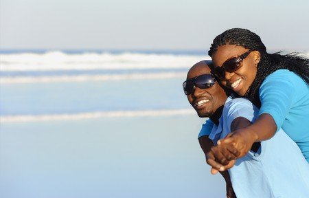 Summer smiles on an attractive black couple Stock Photo
