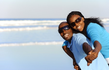 Summer smiles on an attractive black couple photo