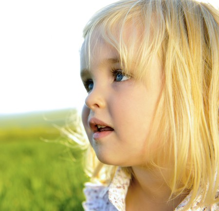 close-up of a beautiful blonde girl outdoors Stock Photo - 7378824