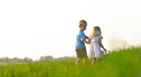 Brother and sister playing together in a field Stock Photo - 7378737