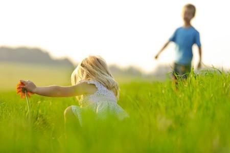 Little girl picks a flower in a meadow, beautiful sunlight lighting. Stock Photo - 7378744