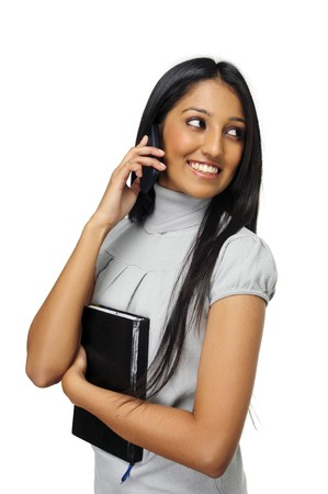 talks: Cute Indian girl talks on her mobile phone