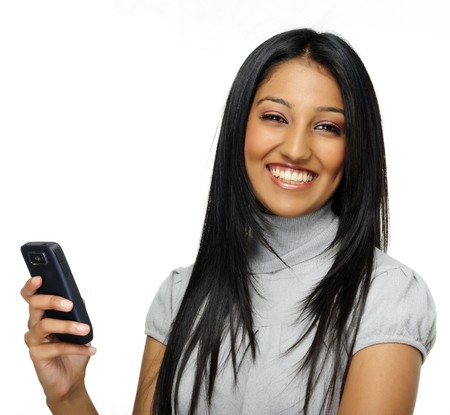 professionals: Indian woman laughs and holds phone Stock Photo