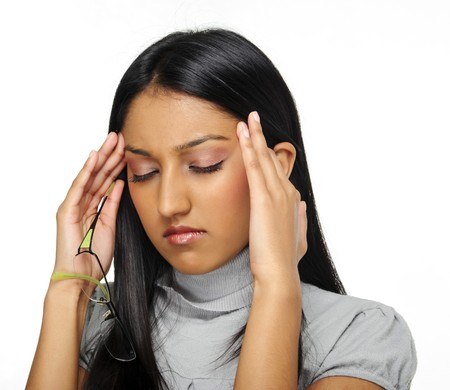 caused: Indian beauty has a headache caused by stress