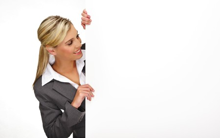 Pretty blonde girl with a blank presentation board photo