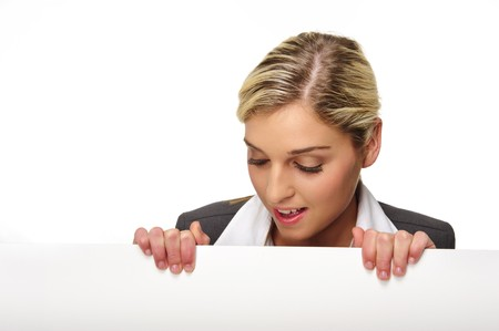 Pretty blonde girl with a blank presentation board photo