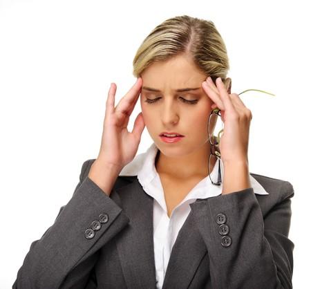 hoofdpijn: Gestrest zaken vrouw heeft hoofd pijn