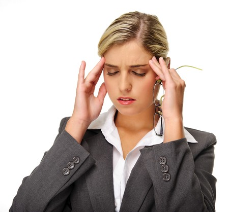 executive assistants: Stressed out businesswoman has headache