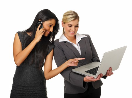 Dynamic team of business woman discuss work photo