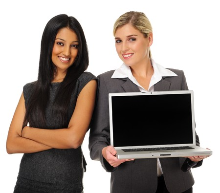 Team of confident  business women with laptop for presentation photo