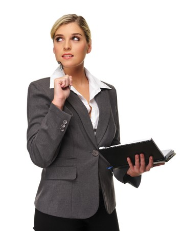 Attractive business woman plans her next meeting photo