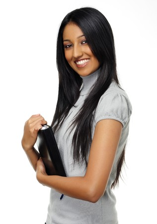 indian adult: Casual Indian woman holds diary and smiles Stock Photo