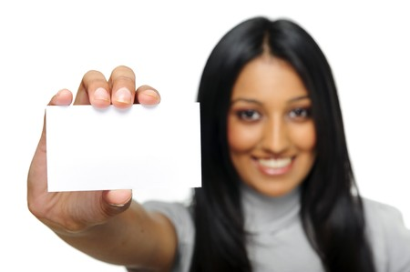 Indian girl shows her business card to camera. photo