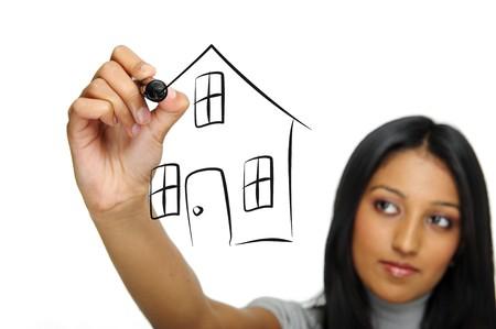 Dream Home: Indische Frau zieht Ihr Traumhaus Lizenzfreie Bilder