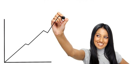 Positive growth graph drawn by Indian girl photo