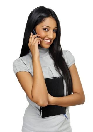 conversaciones: Conversaciones de ni�a India cute en su tel�fono m�vil
