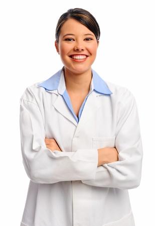 Op white glimlachen vrouwelijke arts in witte vacht, geïsoleerd Stockfoto
