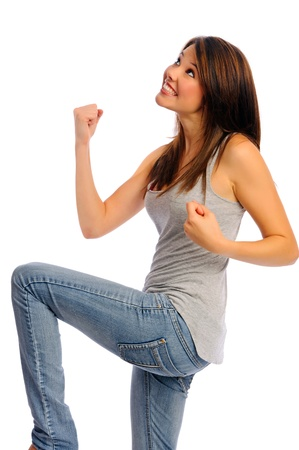 clenched: Isolated model pumps fists in air