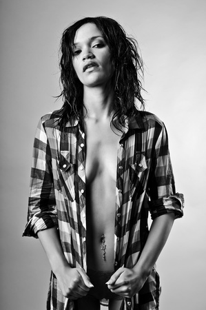 Powerful sexy monochrome fashion girl in studio Stock Photo - 8726646