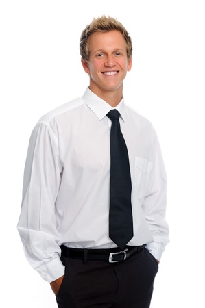 formal shirt: Attractive businessman in tie smiles for a portrait