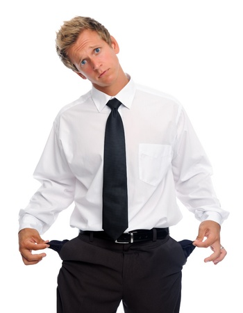 empty pocket: Caucasian man in shirt and tie pulls on his empty pockets Stock Photo