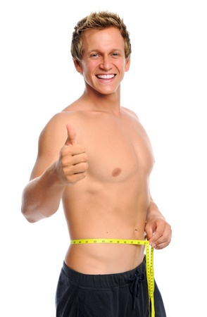 Man is happy with new waist line measurement  photo