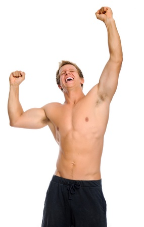 Bare chested fit healthy man celebrates his sporting achievement Stock Photo - 9967603