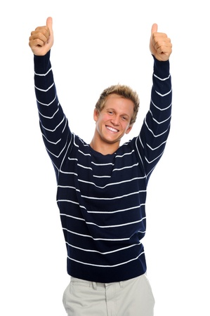 Excited man with both arms and thumbs up isolated on white Stock Photo - 9967609